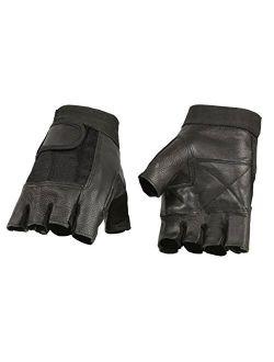 Milwaukee Leather SH217 Men's Black Leather and Mesh Fingerless Gloves