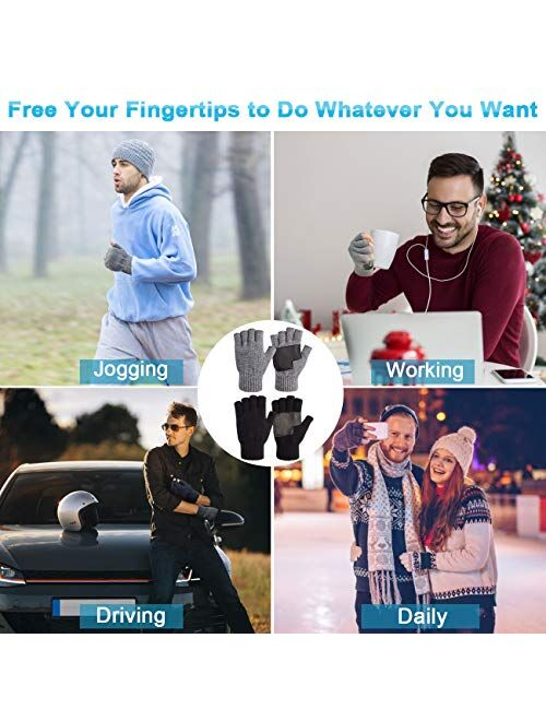 1/2 Pairs Winter Knit Fingerless Gloves, Warm Touchscreen Texting Open Finger Gloves with Anti-Slip Leather by Maylisacc