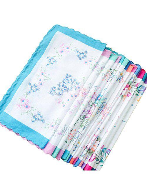 COCOUSM Womens Vintage Floral Print Cotton handkerchiefs Bulk