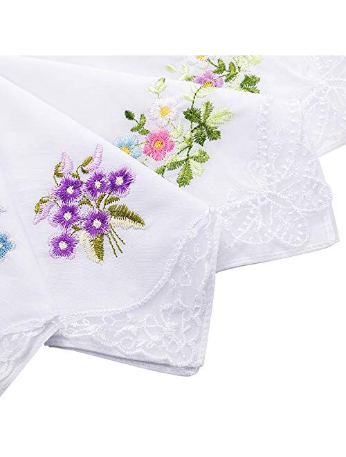 18 Ladies Flower Embroidered with Lace Handkerchief Colored Embroidered Handkerchiefs for Women