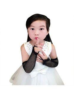 Kids Long Fishnet Gloves Girls Lace Fingerless Mesh Gloves Dance Performance Party Costume Accessory