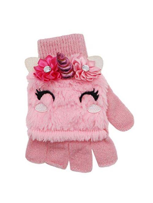 Kids Unicorn Flip Top Gloves with Mitten Cover Knitted Winter Fingerless Convertible Mittens for Boy Girls Toddler