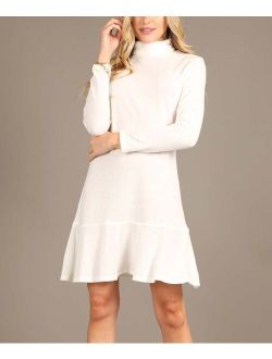 Milly Penzance Ivory Ruffle-Hem Turtleneck Shift Dress - Women & Plus