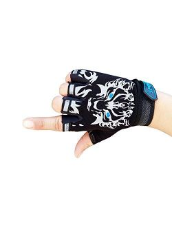 MARZE Cycling Gloves for Kids Children Half Finger Non-Slip Adjustable Sports Gloves Bike Gloves