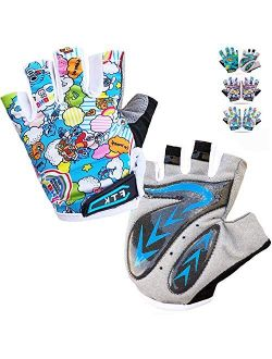 Kids Cycling Gloves Junior Boys Girls Youth Half Finger Gel Padded Fingerless Grip Breathable Non-Slip Small Large for Summer Fishing Bike Riding Climbing Outdoor Sports