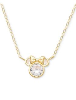 """Children's Cubic Zirconia Minnie Mouse 15"""" Pendant Necklace in 14k Gold"""