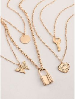 5pcs Girls Lock & Key Pendant Necklace