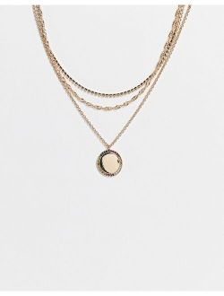 multirow necklace with rainbow pave pendant in gold