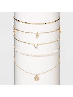 Rylic Stones White Pearls Multi Necklace Set - Wild Fable™ Gold