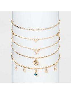 Vil Eye Choker Necklace Set 5pc - Wild Fable™ Gold