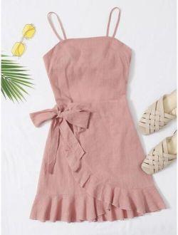 Tied Open Back Ruffle Trim Wrap Front Cami Dress