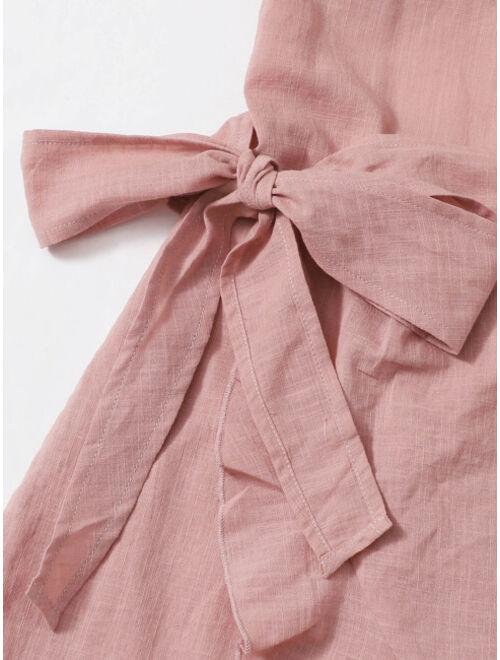 SHEIN Tied Open Back Ruffle Trim Wrap Front Cami Dress