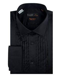 Tiglio Black French Cuff Tuxedo Shirt