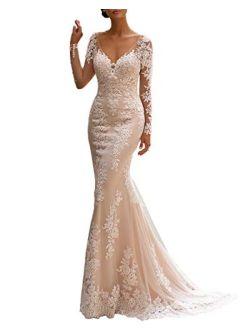 Noras dress Women's Lace Appliques Long Sleeve Mermaid Wedding Dress V Neck Bridal Gowns B131