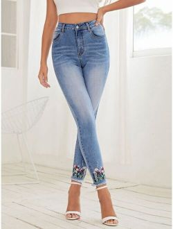 High Waist Embroidered Flower Skinny Jeans