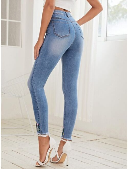 Shein High Waist Embroidered Flower Skinny Jeans
