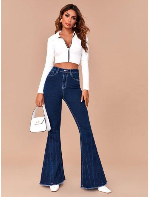 Shein High Waist Contrast Stitch Flare Leg Jeans