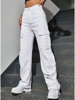High Waist Western Flap Pocket Ripped Jeans
