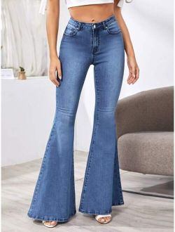 Stonewash Flare Leg Jeans