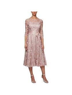 Women's Tea Length Embroidered Dress Illusion Sleeves (petite Missy)