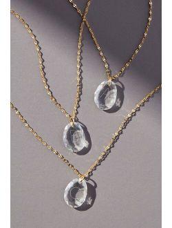 Etched Glass Monogram Pendant Necklace