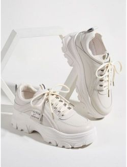 Stitch Detail Lace-up Front Chunky Sneakers