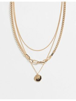 multirow necklace with circle pendant in gold