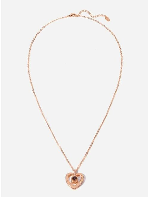 Shein Heart Pendant Projection Necklace