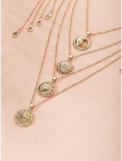 4pcs Sun Moon Design Charm Necklace