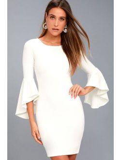 Gimme Some Flair White Flounce Sleeve Bodycon Dress