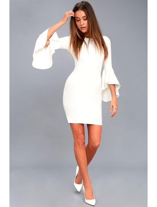 Lulus Gimme Some Flair White Flounce Sleeve Bodycon Dress