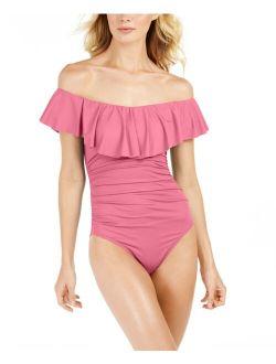 La Blanca Polyester Off Shoulder Ruffle Swimsuit