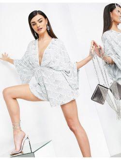 ASOS EDITION fan embellished romper in gray