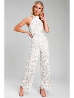 Britney White Lace Halter Jumpsuit
