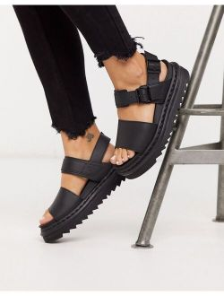 Dr Martens Voss black leather flat chunky sandals