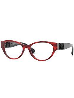 V Logo Va 3042 Red Havana 51/16/140 Women Eyewear Frame