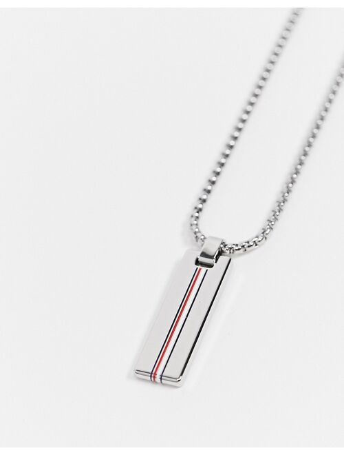 Tommy Hilfiger neck chain with branded pendant in silver