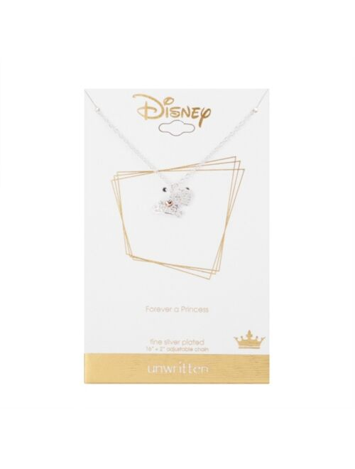 """Disney Gold Flash-Plated Cubic Zirconia Princess Charm Necklace, 16+2"""" Extender"""
