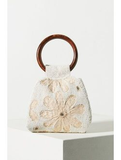 Riva Beaded Wood Ring Handle Clutch
