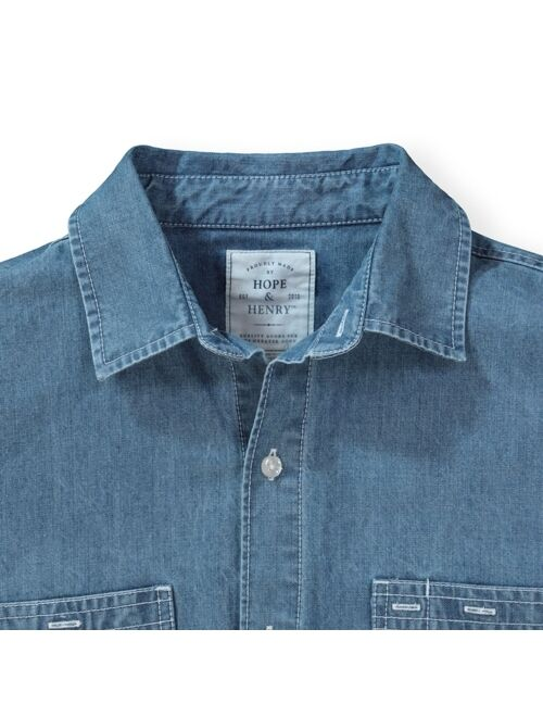 Hope & Henry Mens' Chambray Button Down Shirt