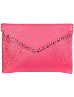 Leather Solid Fold Over Leo Clutch
