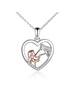 YFN Horse Pendant Necklace Sterling Silver Girls with Horse Gift For Women Girls