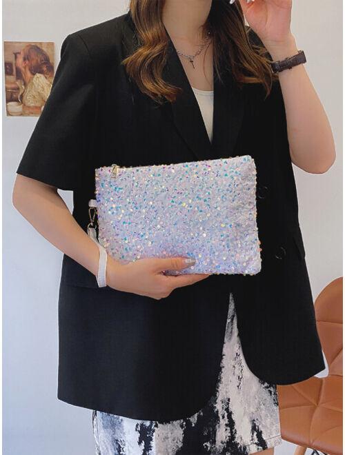 Shein Sequin Decor Zipper Closure Clutch Bag