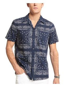 Men's Slim-Fit Short Sleeve Paisley Print Shirt