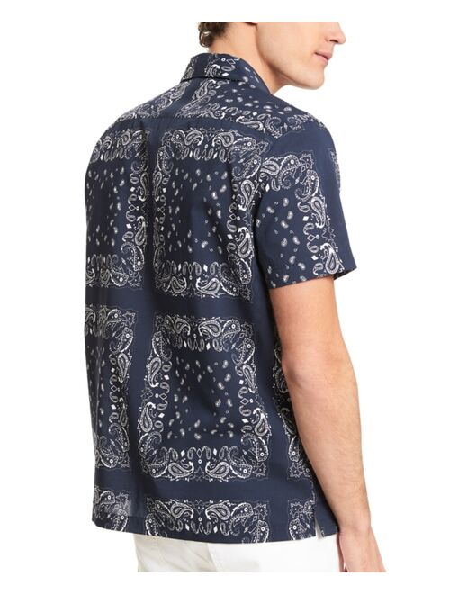 Michael Kors Men's Slim-Fit Short Sleeve Paisley Print Shirt