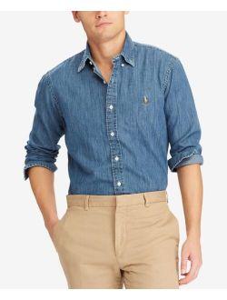 Men's Long Sleeve Classic-Fit Denim Shirt