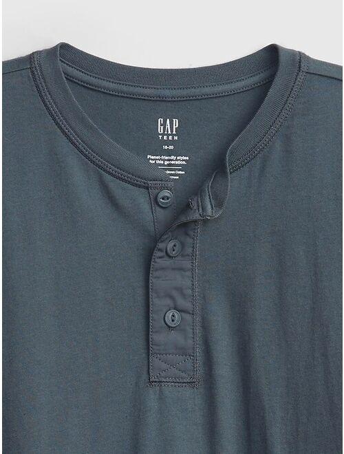 GAP Teen 100% Organic Cotton Henley Shirt