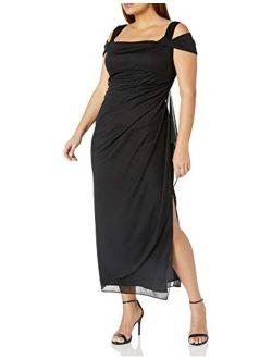 Women's Plus Size Cold-shoulder Dress Side Ruched Skirt