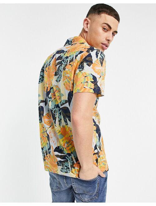 Selected Homme shirt in leaf print multi - part of a set