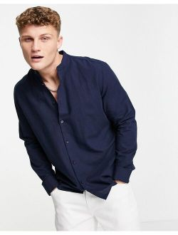 Selected Homme linen shirt with grandad neck in navy
